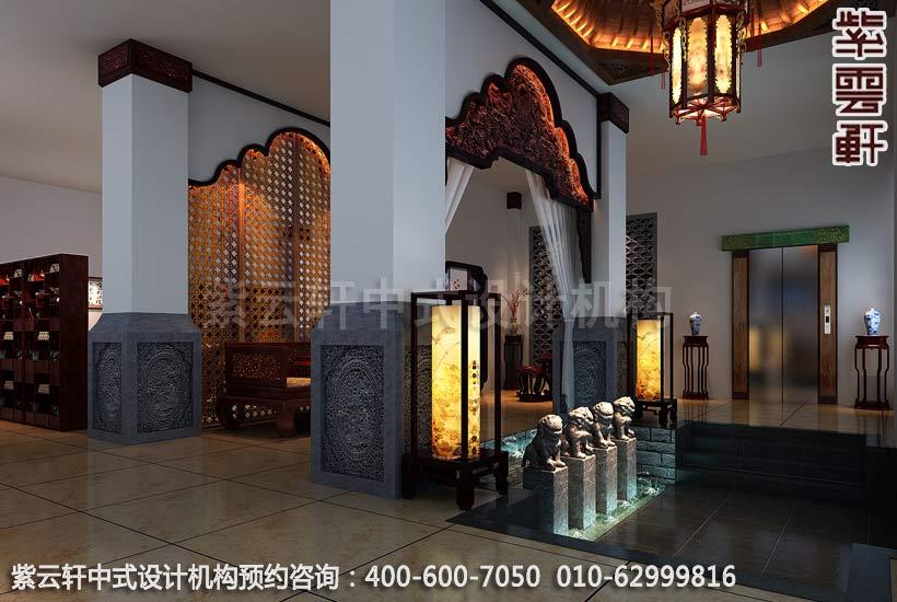 红木馆过厅新中式设计案例图