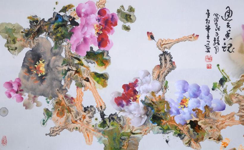 现代著名中国画画家李长文冲墨画派的风姿