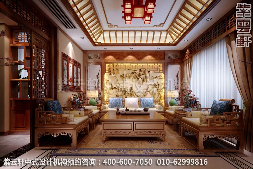 别墅客厅古典中式设计案例图