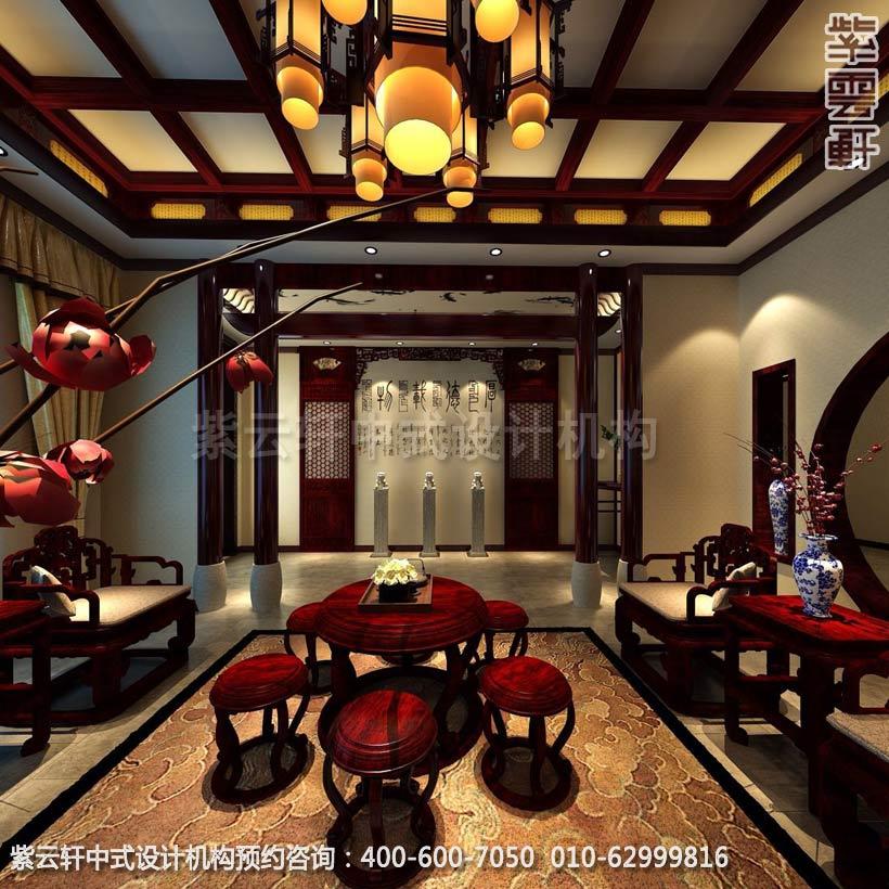 别墅客厅简约中式设计效果图