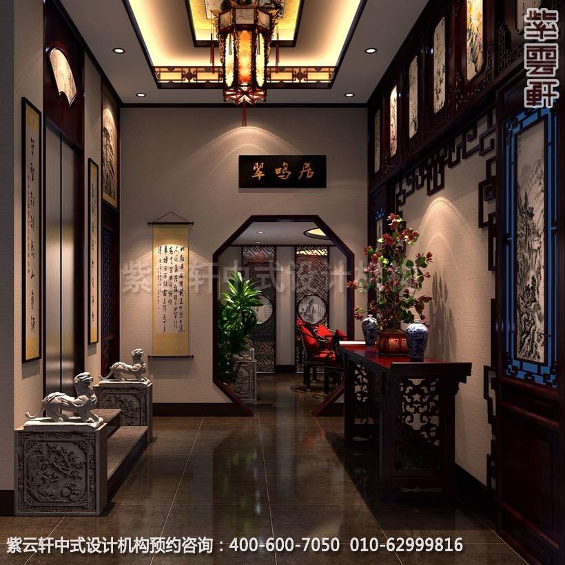 别墅过厅简约中式设计效果图
