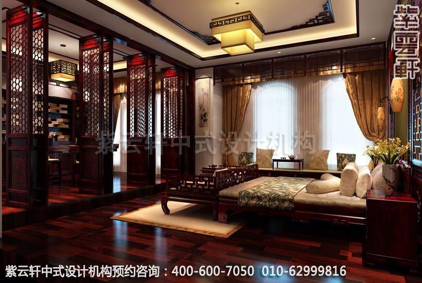 别墅主卧室简约中式设计效果图