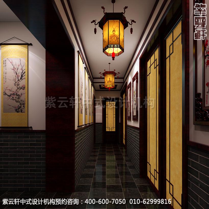 茶楼走廊新中式设计效果图