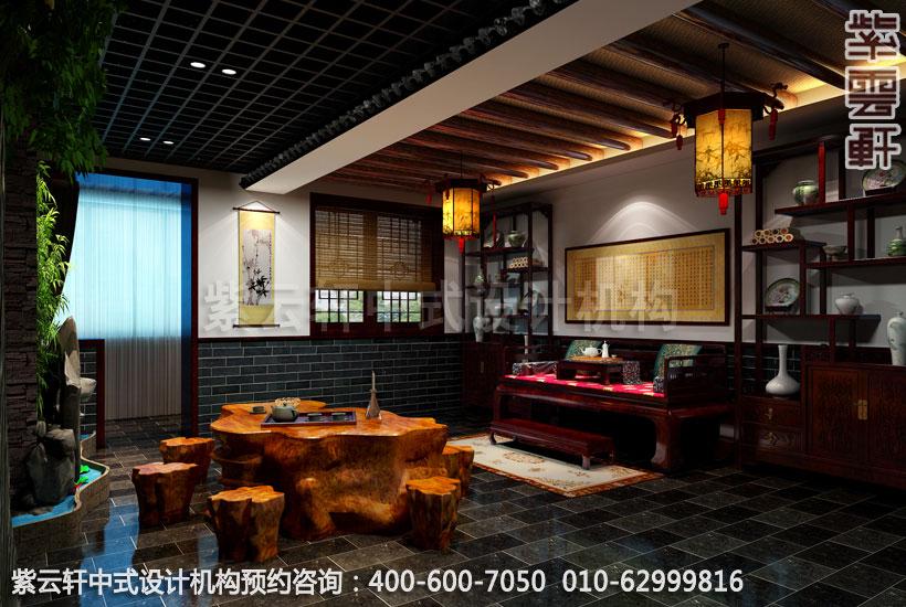 茶楼三层大包新中式设计效果图