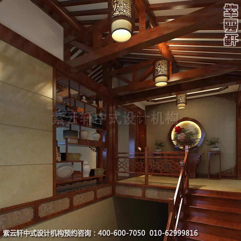 中式古典风格别墅楼梯间