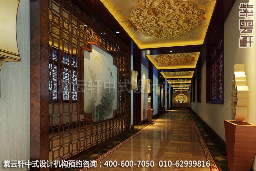 中式装修古典酒店过道