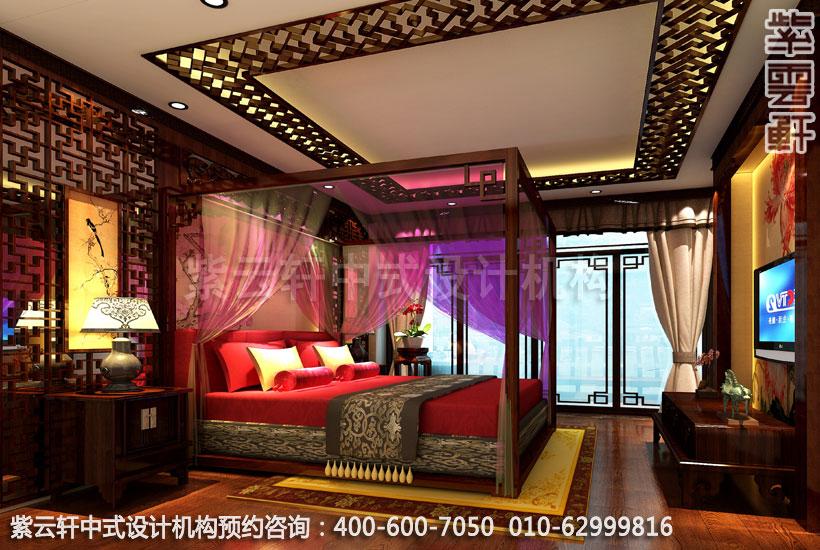 古典中式装修酒店大床房