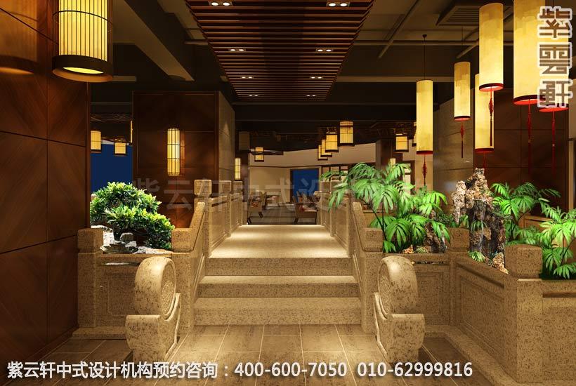 茶餐厅水景简约中式设计效果图