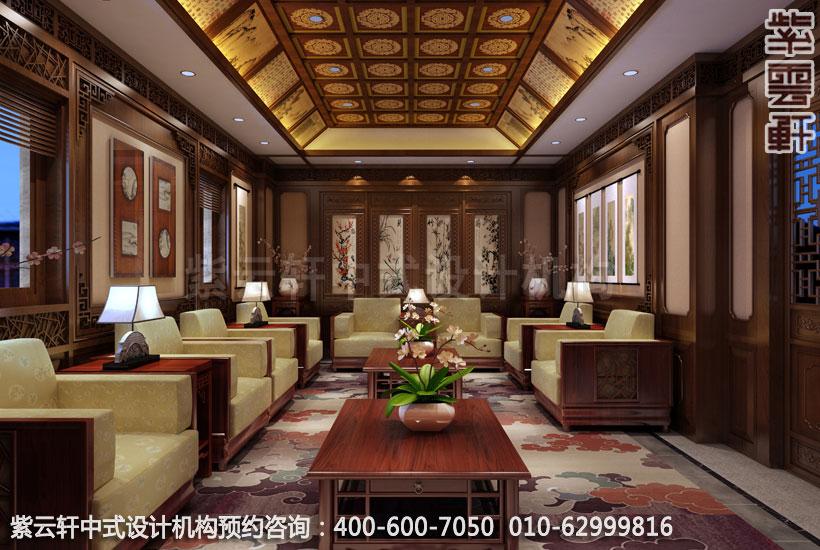 新中式红木沙发与此凝聚汇聚恢弘华贵的气魄,嵌入式天花藻井风格独特图片