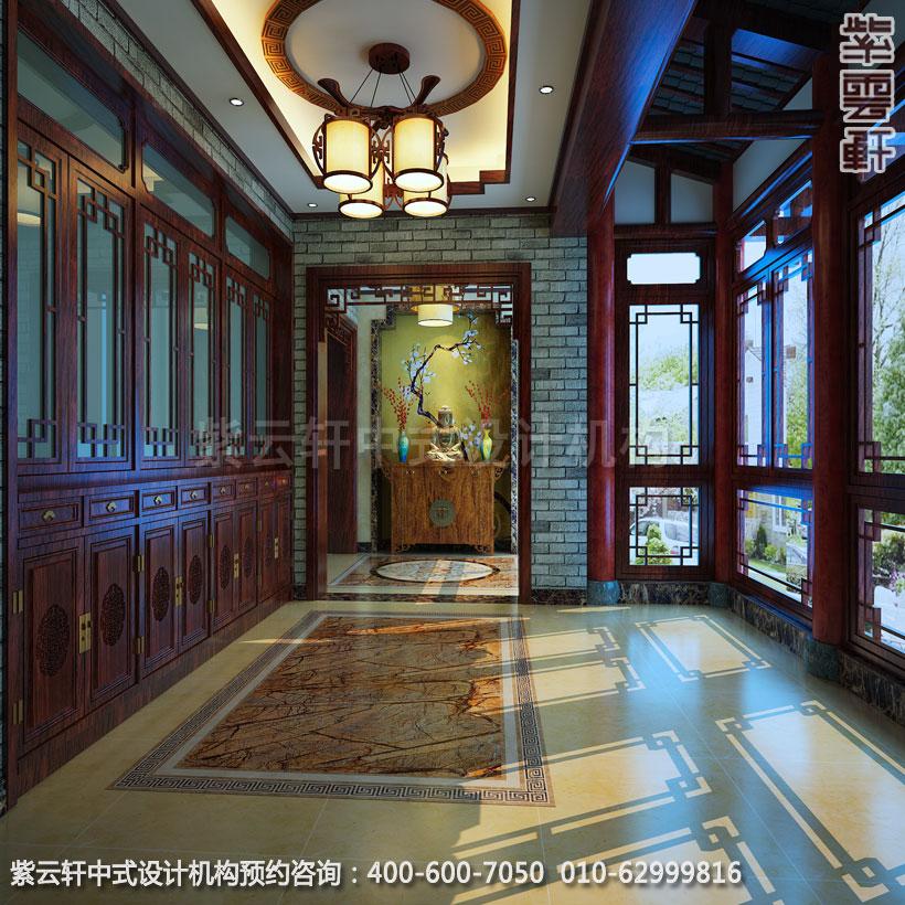 复式住宅玄关古典中式设计效果图