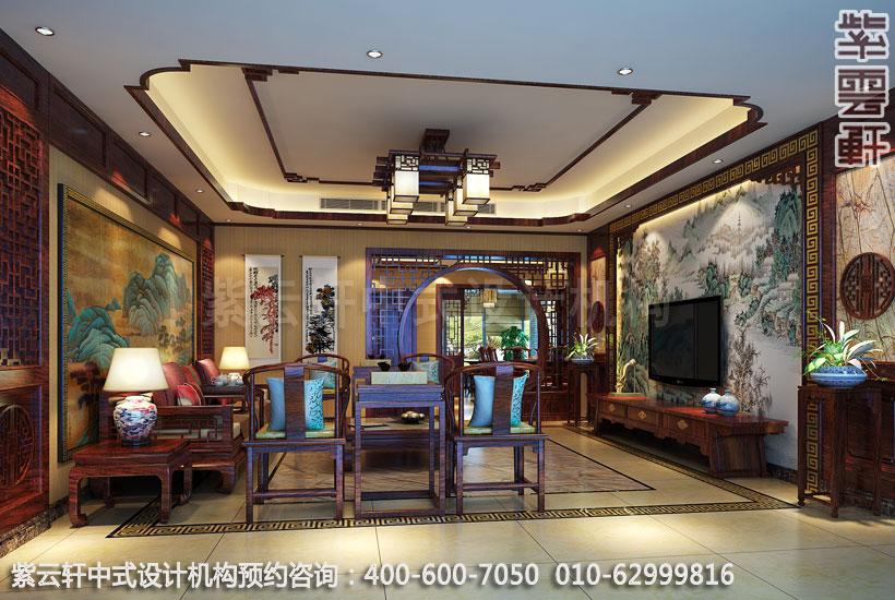 复式住宅客厅古典中式设计效果图