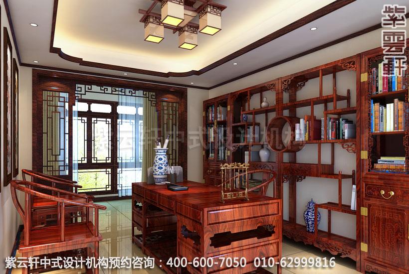 复式住宅书房古典中式设计效果图