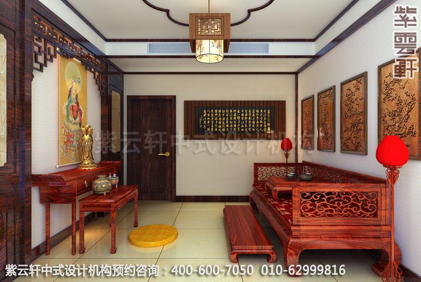 复式住宅佛堂古典中式设计效果图