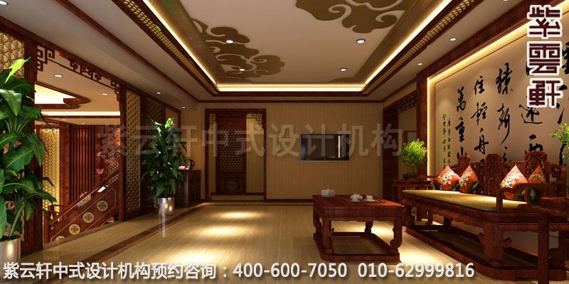 休闲会所大厅古典中式设计效果图