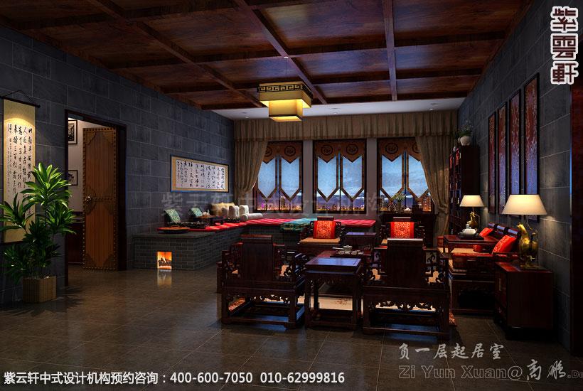 别墅客厅古典中式设计效果图
