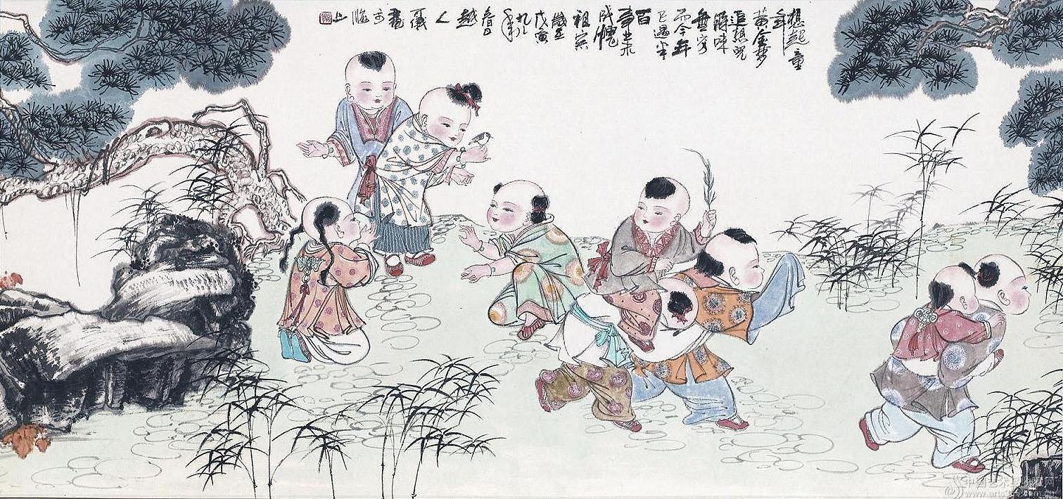 百子图在古典文化中寓意吉祥,经常用来中式配饰