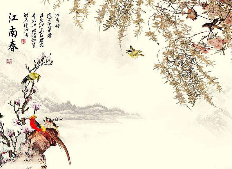 中式装修的中式配饰花鸟画增添整个空间的生趣