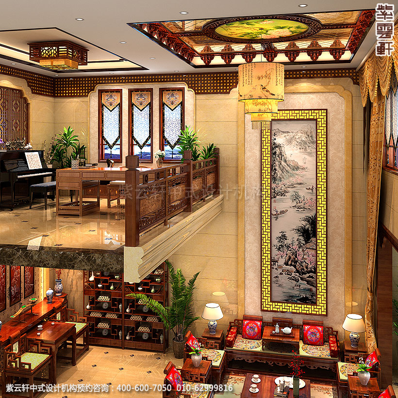 别墅现代中式装修客厅