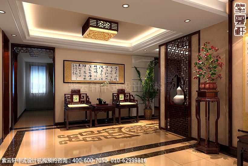 别墅现代中式装修二楼过厅