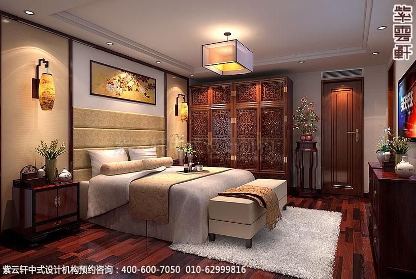 北京大兴别墅现代中式装修主卧