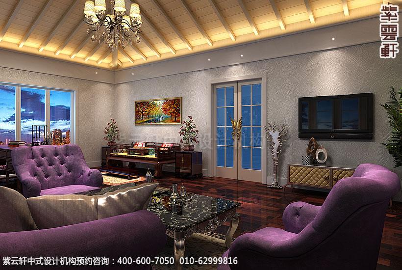 北京大兴别墅现代中式装修影音室