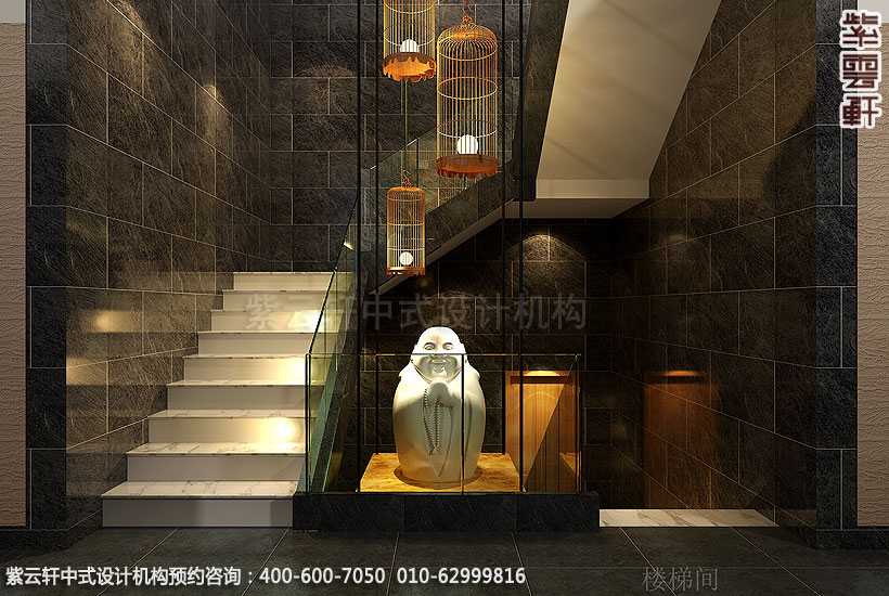 会所古典中式装修楼梯间
