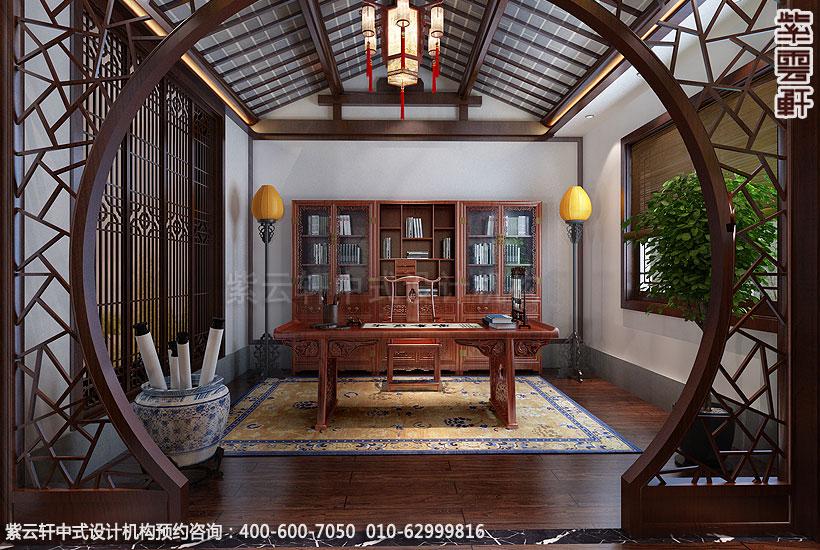 上海王公馆新中式会所装修书画区