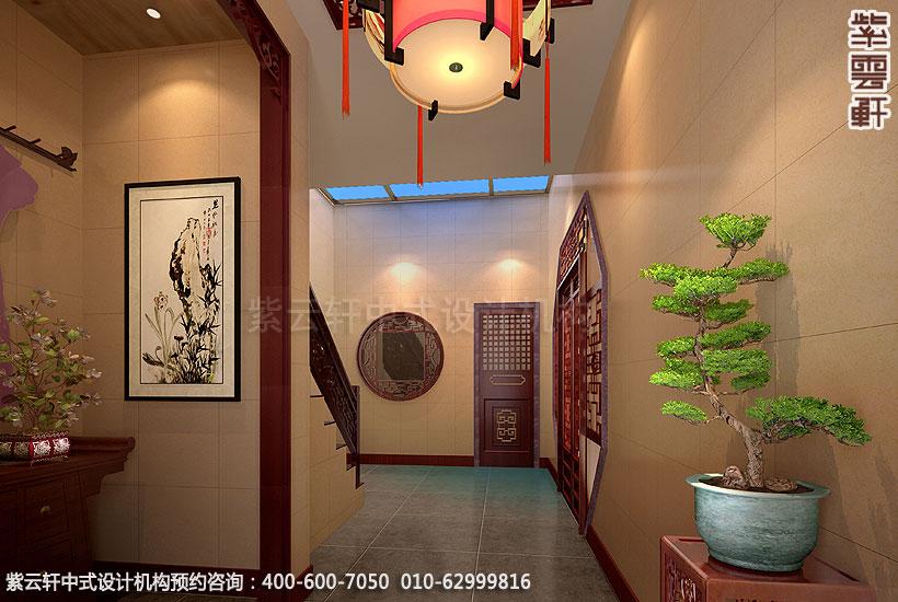 郑州简约中式复式住宅装修玄关走廊