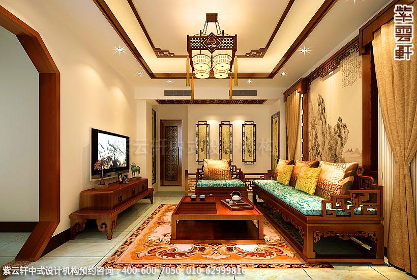 郑州简约中式复式住宅装修客厅