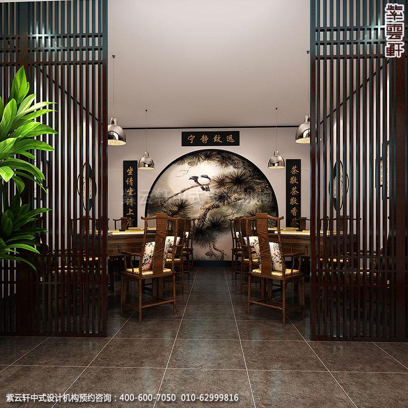 推开新中式装修餐饮区木格栅门