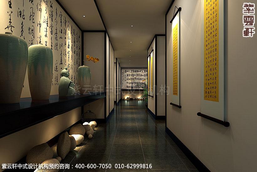 商务茶会所新中式装修走廊