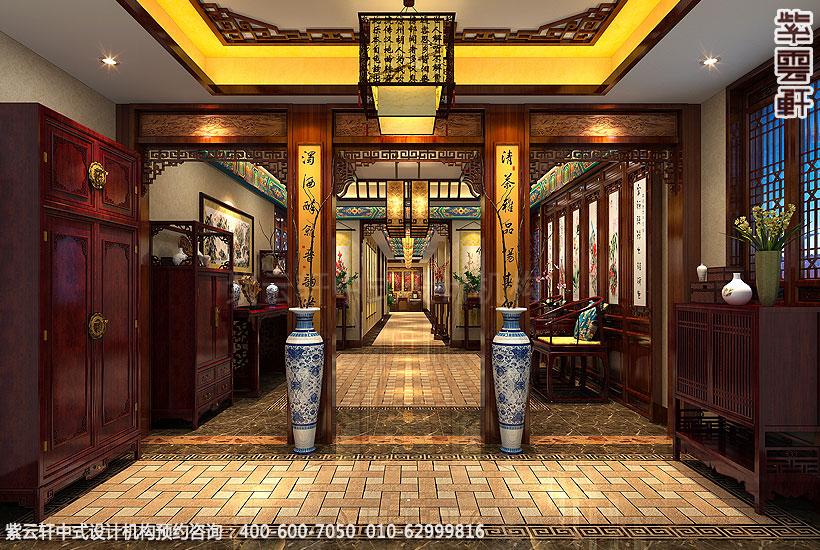 长沙古典中式装修别墅-门厅