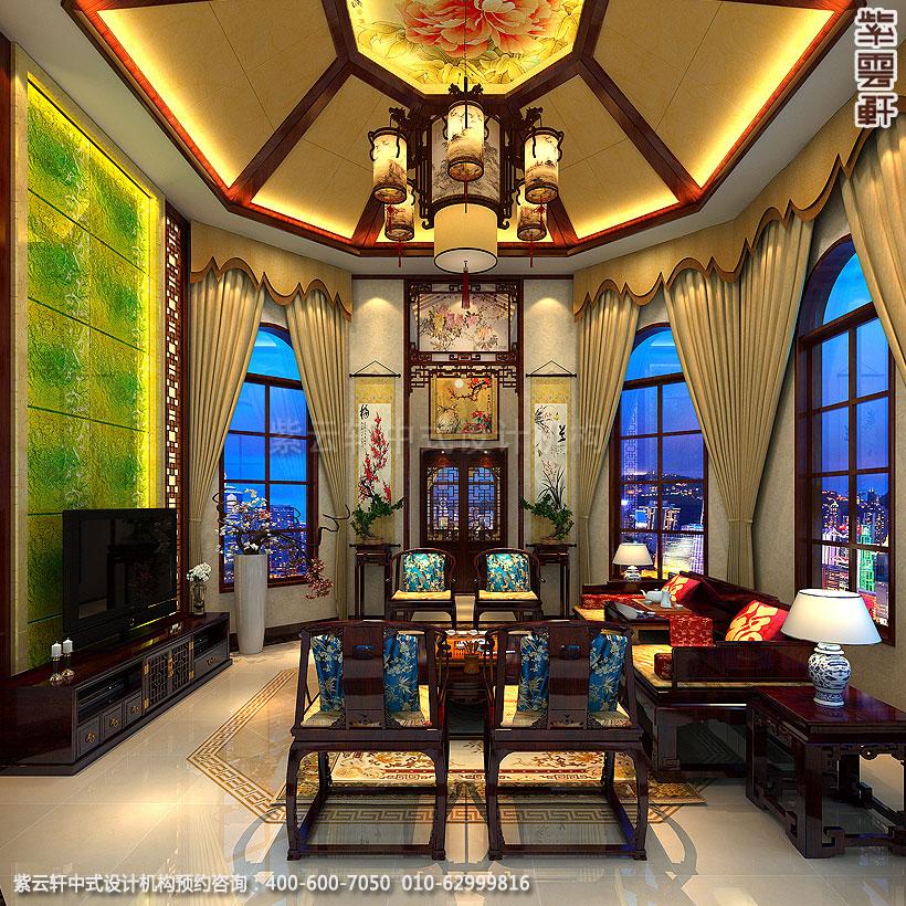长沙古典中式装修别墅客厅