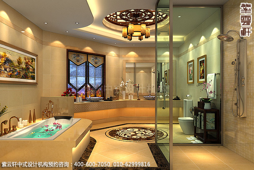 长沙古典中式装修别墅主卧卫生间