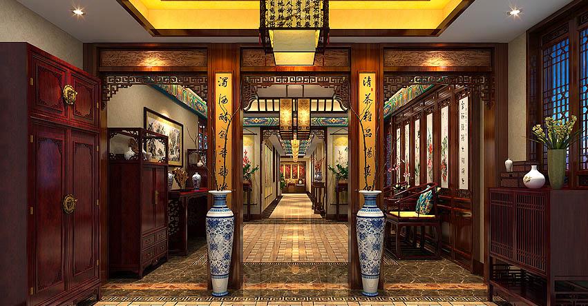长沙豪宅别墅古典中式装修案例 甘美纯净花影缤纷