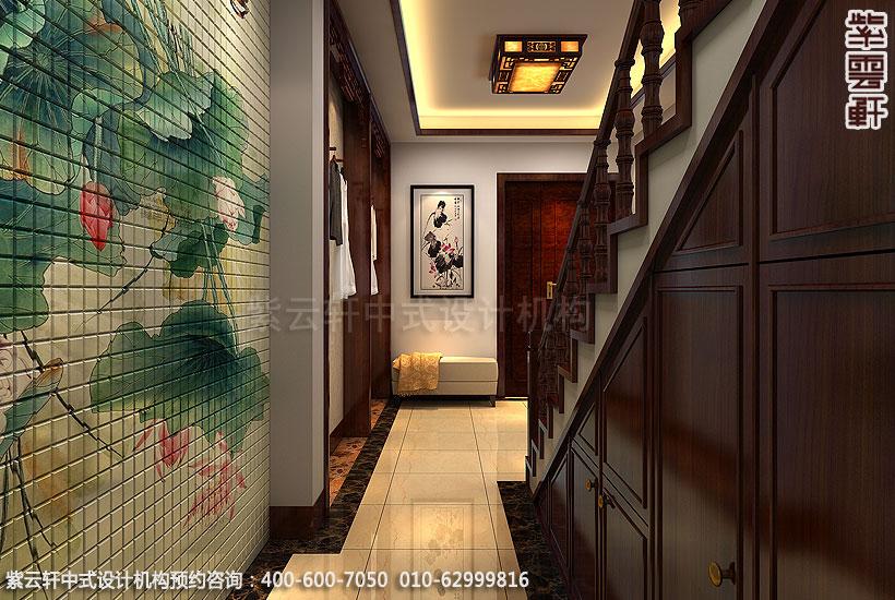 北京方庄复式楼新中式装修楼梯过道