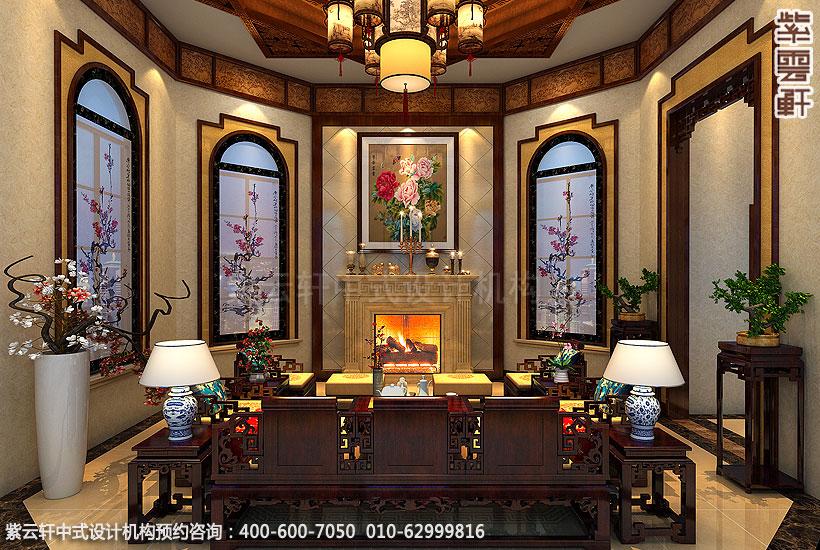 中式装修,客厅盆景