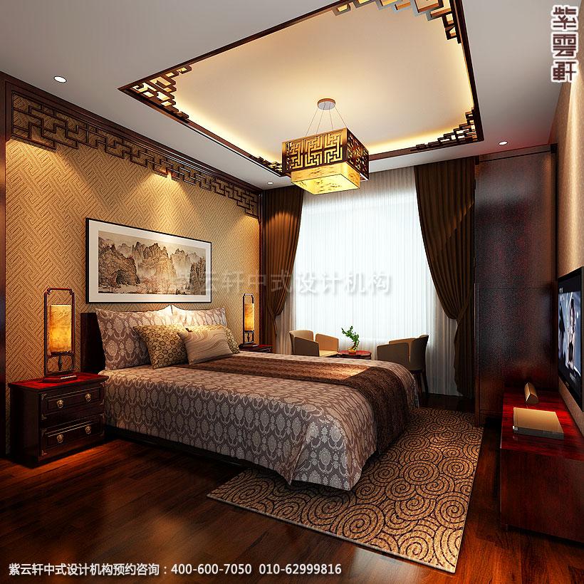 简约中式装修老人卧室的床头