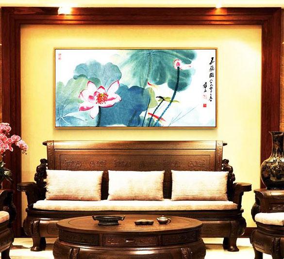 中式室内居室莲花挂画 优雅清净,空灵淡远之所在