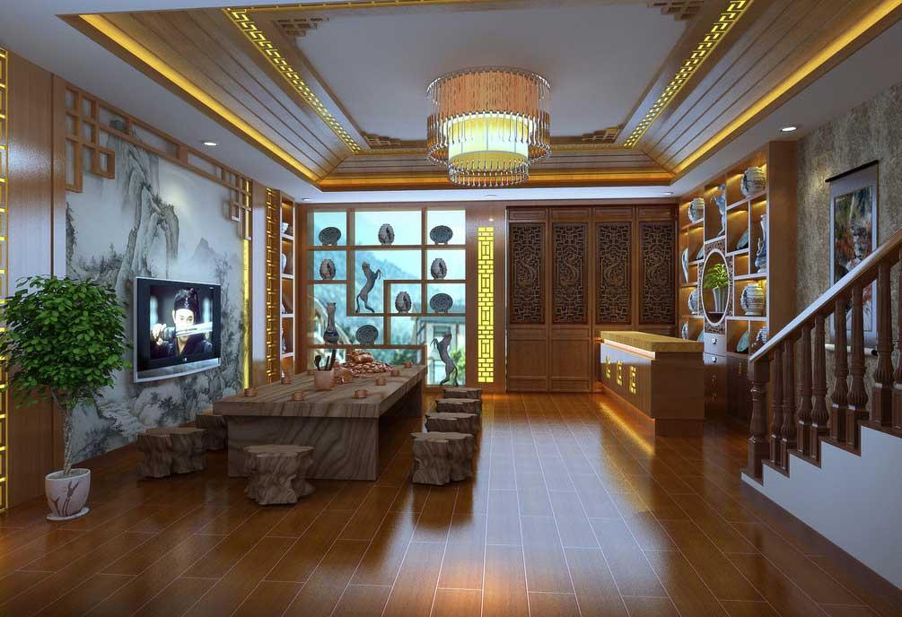 淡定超然,典雅幽静的新中式茶室_紫云轩中式装修设计