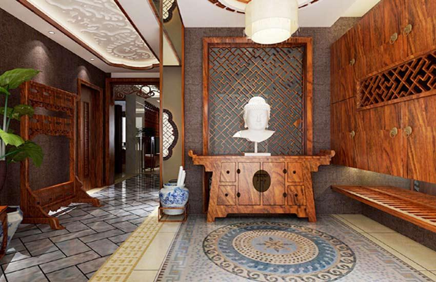 具简单且古典风情的中式装修玄关是该如何设计的