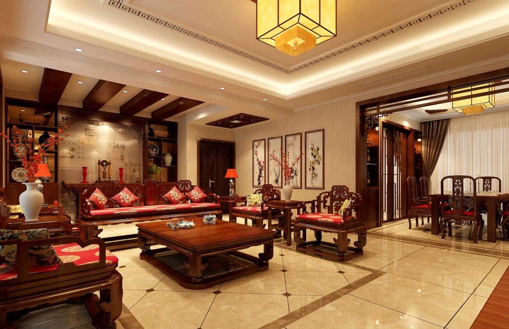 现代中式客厅中的装饰也可以采用中国画