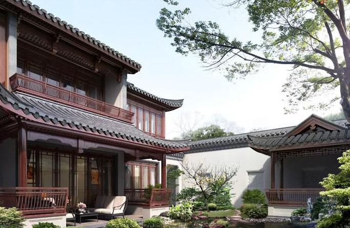 现代中式别墅庭院杭州庭院别墅图片13