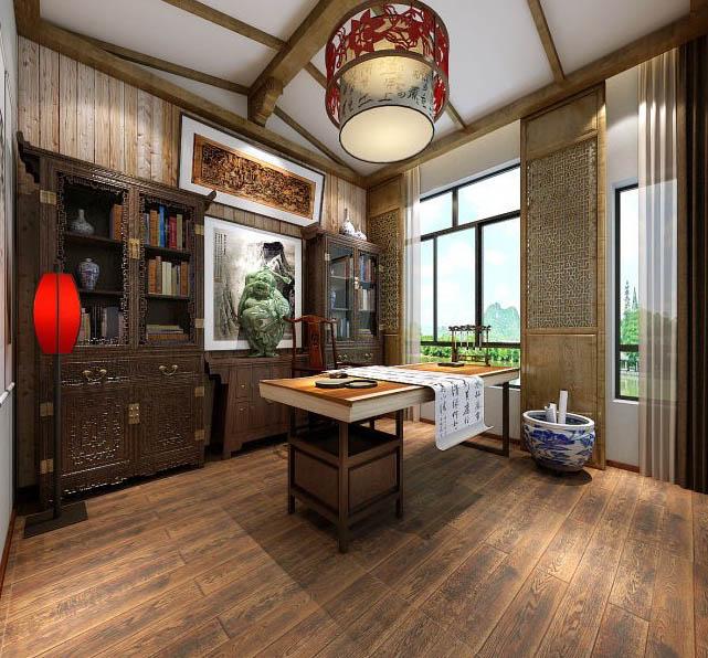中式古典书房空间舞文弄墨、弹琴诵诗之所,体现文雅高逸的生活情操
