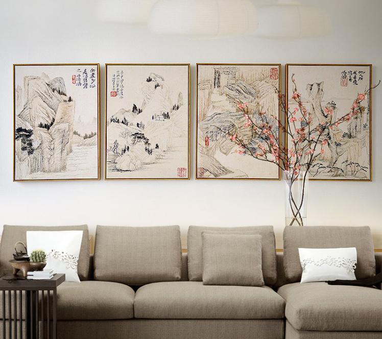 中式居室空间山水画装饰之境 一山一水一境界