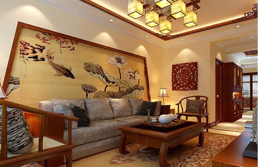 中式装修住宅客厅红木家具