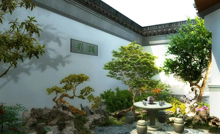 现代中式别墅庭院杭州庭院别墅图片6