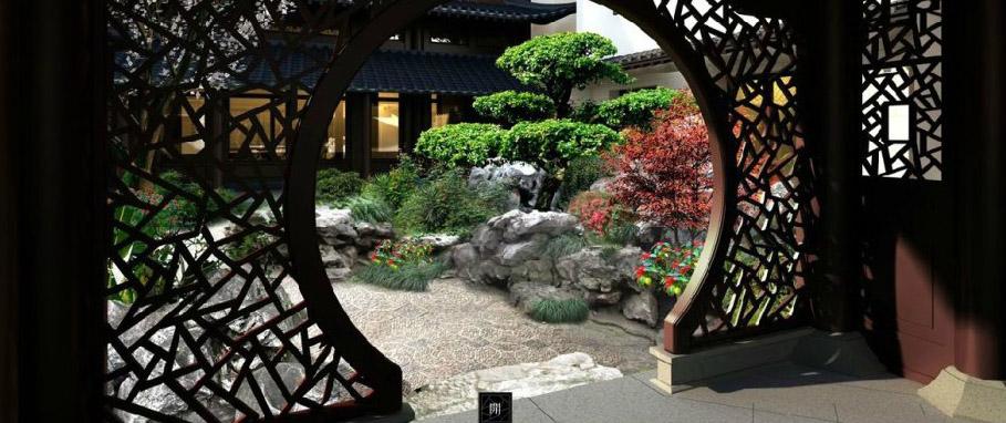 江南风格中式别墅庭院空间