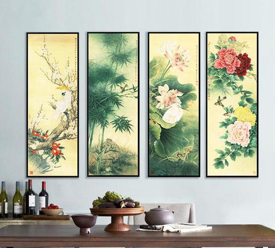 中式室内空间传统花鸟画 灵性承载着美好吉祥的深刻寓意