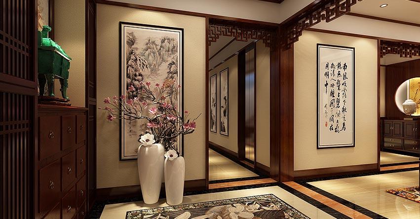 新中式装修风格案例―廊坊三层别墅华美精致